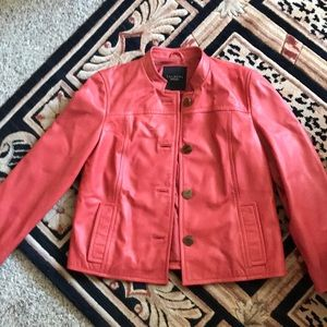 Talbots salmon color leather jacket
